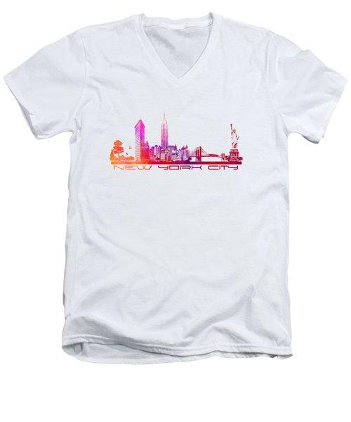 New York City Skyline Purple Men's V-Neck T-Shirt