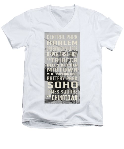 New York City Subway Stops Vintage Brooklyn Bridge Men's V-Neck T-Shirt by Edward Fielding