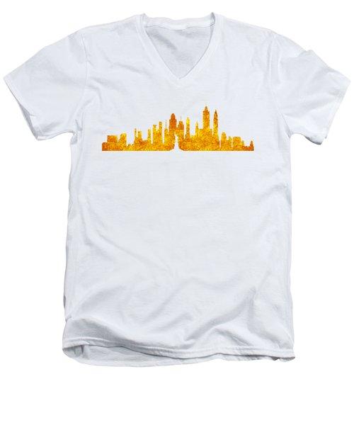 New York, Golden City Men's V-Neck T-Shirt by Anton Kalinichev