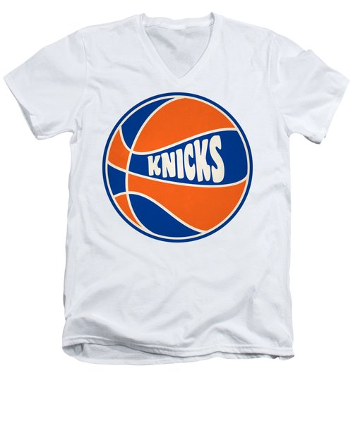 Men's V-Neck T-Shirt featuring the photograph New York Knicks Retro Shirt by Joe Hamilton