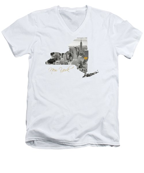 New York Map Cut Out Men's V-Neck T-Shirt