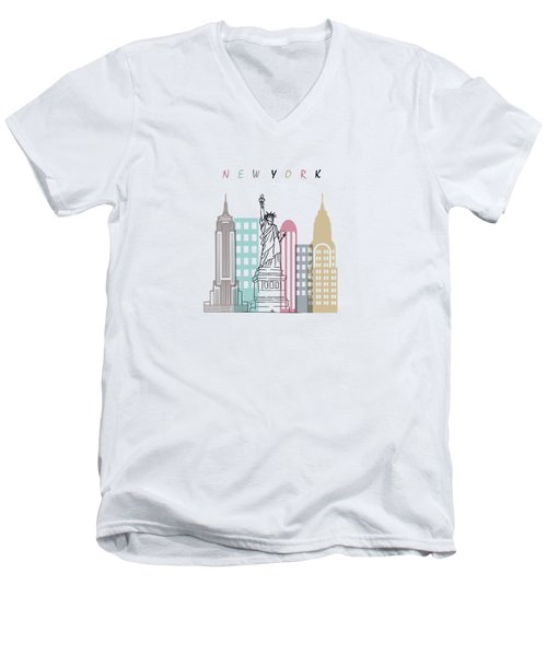 New York  Minimal  Men's V-Neck T-Shirt