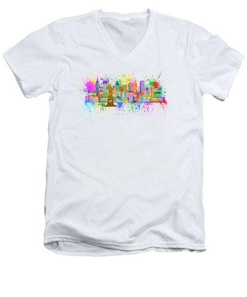 New York Skyline Paint Splatter Illustration Men's V-Neck T-Shirt