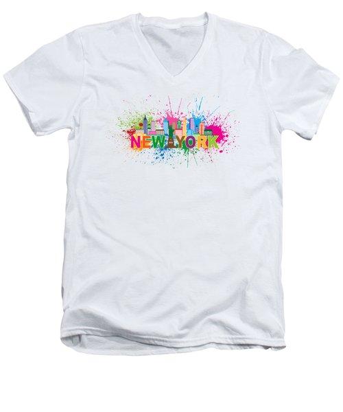 New York Skyline Paint Splatter Text Illustration Men's V-Neck T-Shirt