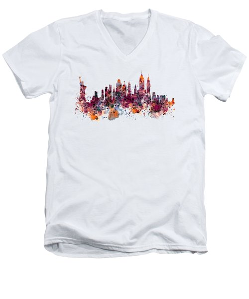 New York Skyline Watercolor Men's V-Neck T-Shirt by Marian Voicu