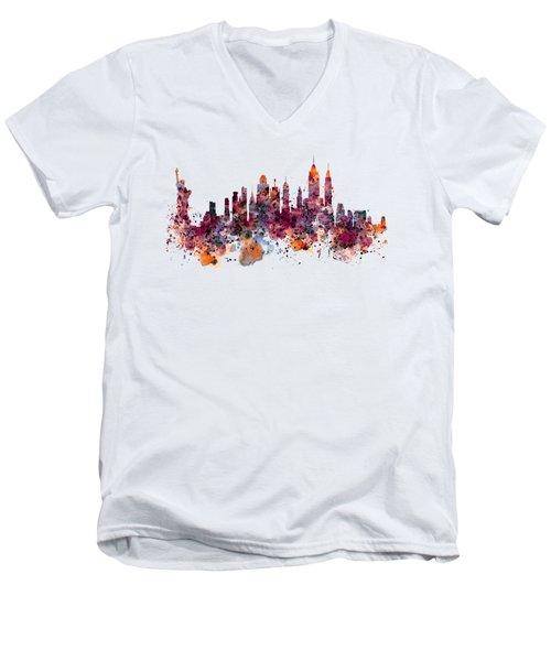 New York Skyline Watercolor Men's V-Neck T-Shirt