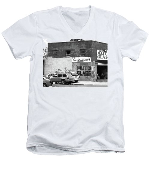 Men's V-Neck T-Shirt featuring the photograph New York Street Photography 70 by Frank Romeo