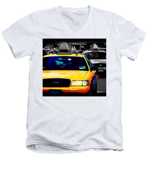 New York Taxi Men's V-Neck T-Shirt by Christopher Woods