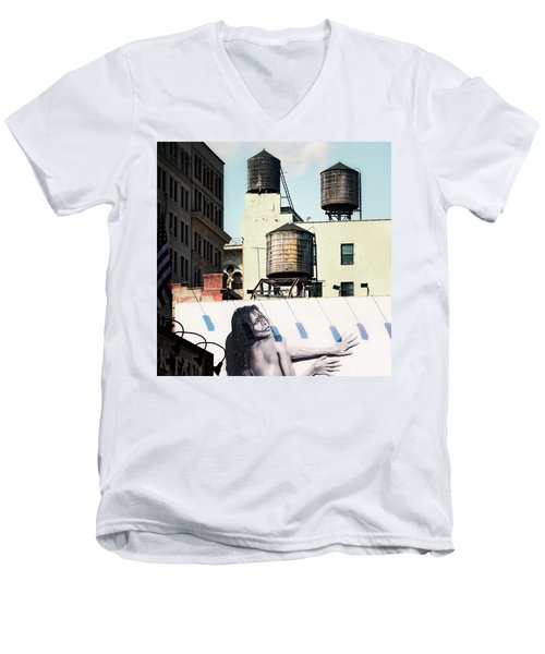 Men's V-Neck T-Shirt featuring the photograph New York Water Towers 15 by Gary Heller