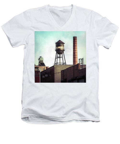 Men's V-Neck T-Shirt featuring the photograph New York Water Towers 19 - Urban Industrial Art Photography by Gary Heller