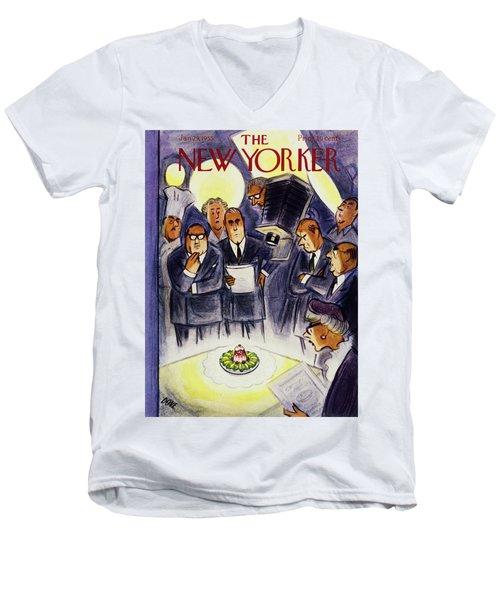 New Yorker January 29 1955 Men's V-Neck T-Shirt