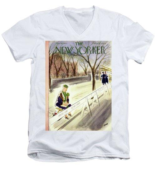 New Yorker March 18 1950 Men's V-Neck T-Shirt