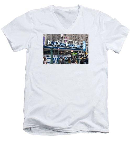 Men's V-Neck T-Shirt featuring the photograph New York's Finest by Allen Carroll