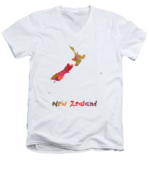 New Zealand In Watercolor Men's V-Neck T-Shirt by Pablo Romero