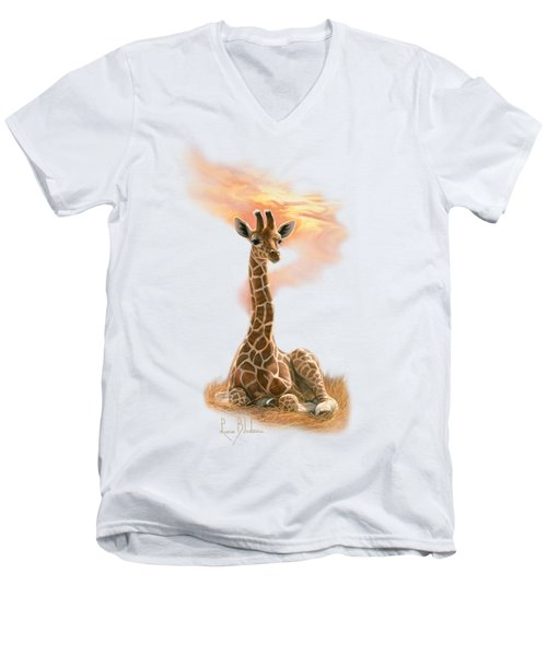 Newborn Giraffe Men's V-Neck T-Shirt