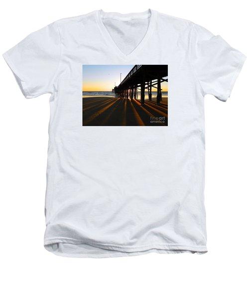Newport Pier, Newport Beach   Men's V-Neck T-Shirt by Everette McMahan jr