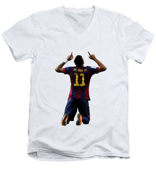 Neymar Men's V-Neck T-Shirt by Armaan Sandhu