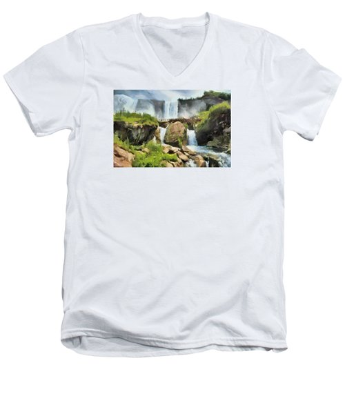 Men's V-Neck T-Shirt featuring the digital art Niagara Falls Cave Of The Winds by Charmaine Zoe