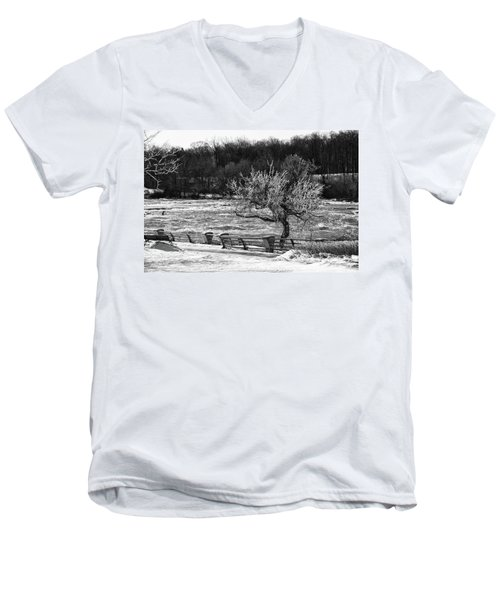 Men's V-Neck T-Shirt featuring the photograph Niagara Falls Ice 4514 by Guy Whiteley