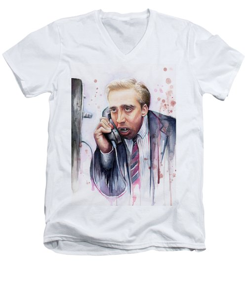 Nicolas Cage A Vampire's Kiss Watercolor Art Men's V-Neck T-Shirt