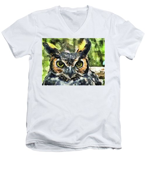 Men's V-Neck T-Shirt featuring the mixed media Night Owl by Trish Tritz