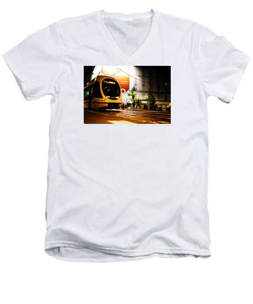 Night Walk In Milan Men's V-Neck T-Shirt by Cesare Bargiggia