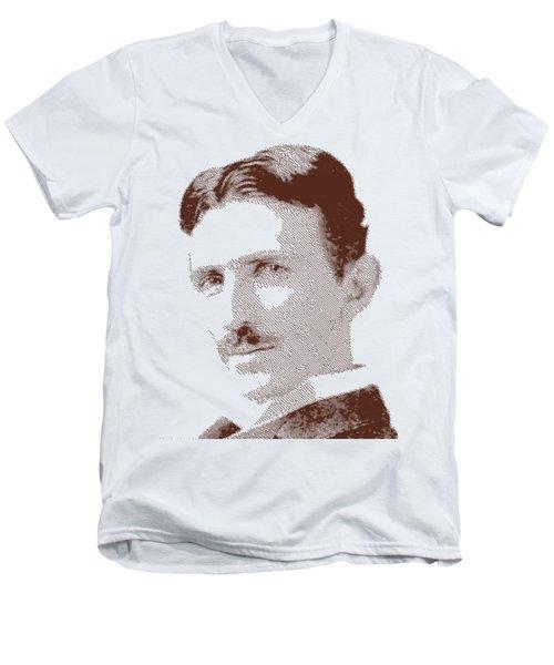 Nikola Tesla - Parallel Hatching Men's V-Neck T-Shirt