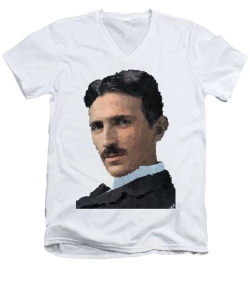 Nikola Tesla Portrait Men's V-Neck T-Shirt