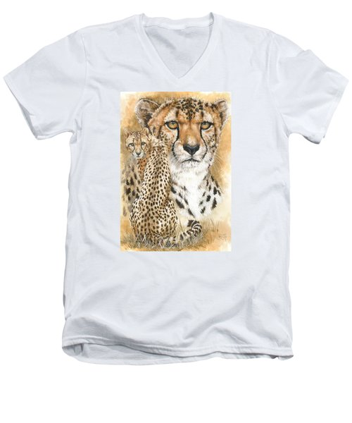 Men's V-Neck T-Shirt featuring the painting Nimble by Barbara Keith