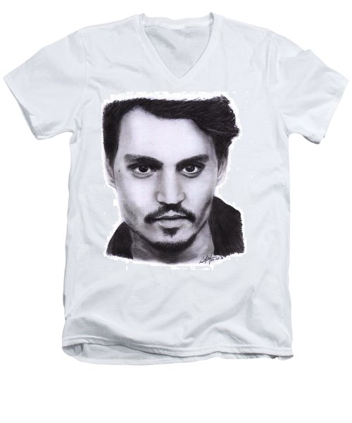Johnny Depp Drawing By Sofia Furniel Men's V-Neck T-Shirt