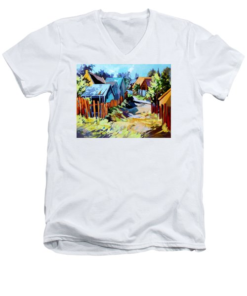 Men's V-Neck T-Shirt featuring the painting No Through Road by Rae Andrews