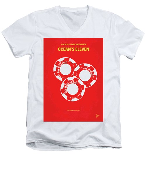 No056 My Oceans 11 Minimal Movie Poster Men's V-Neck T-Shirt by Chungkong Art