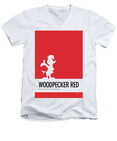 No12 My Minimal Color Code Poster Woody Woodpecker Men's V-Neck T-Shirt