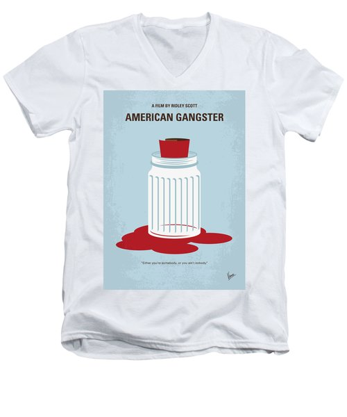 Men's V-Neck T-Shirt featuring the digital art No748 My American Gangster Minimal Movie Poster by Chungkong Art