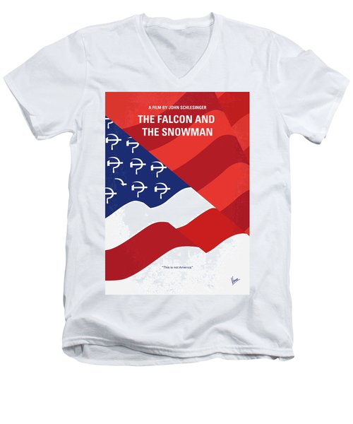 Men's V-Neck T-Shirt featuring the digital art No749 My The Falcon And The Snowman Minimal Movie Poster by Chungkong Art