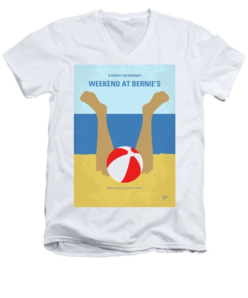 Men's V-Neck T-Shirt featuring the digital art No765 My Weekend At Bernies Minimal Movie Poster by Chungkong Art