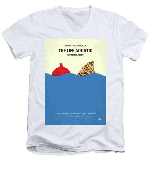 Men's V-Neck T-Shirt featuring the digital art No774 My The Life Aquatic With Steve Zissou Minimal Movie Poster by Chungkong Art