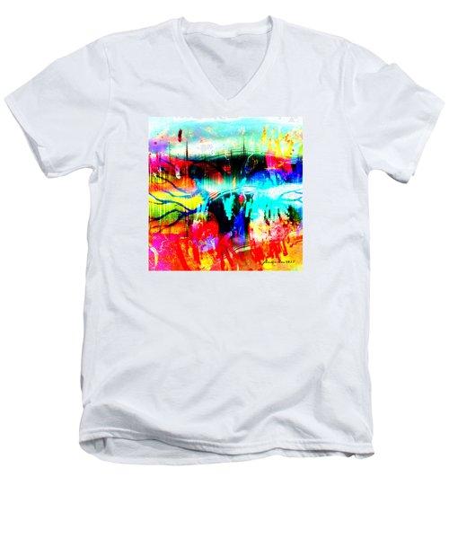 Noel Tree Men's V-Neck T-Shirt by Fania Simon