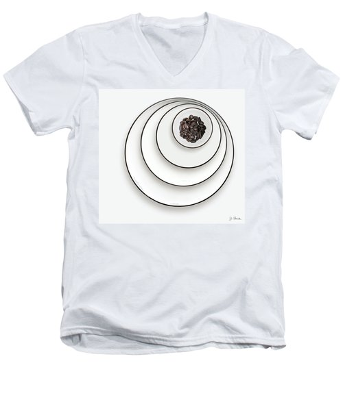 Men's V-Neck T-Shirt featuring the photograph Nonconcentric Dishware And Coffee by Joe Bonita