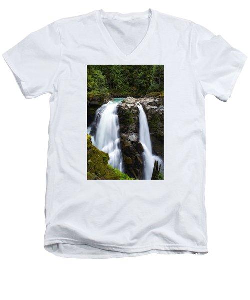 Nooksack Falls Men's V-Neck T-Shirt by Ryan Manuel