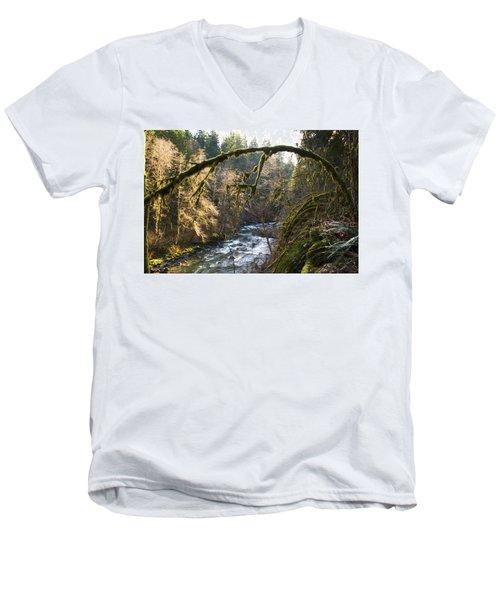 Men's V-Neck T-Shirt featuring the photograph Nooksack River by Yulia Kazansky
