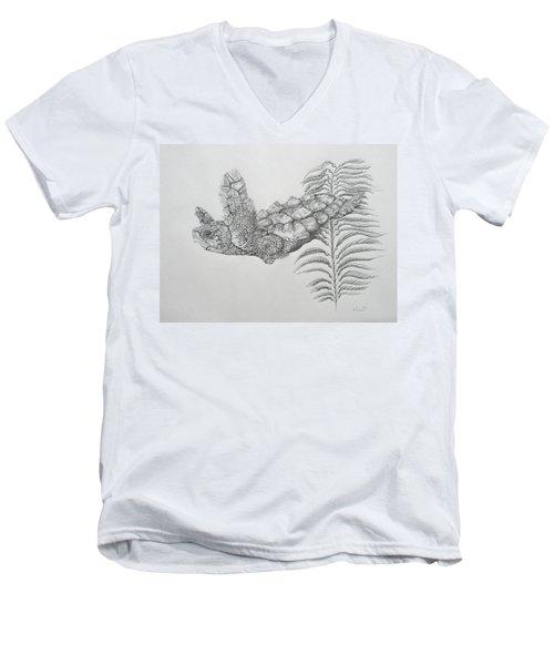 Men's V-Neck T-Shirt featuring the drawing Norman by Mayhem Mediums