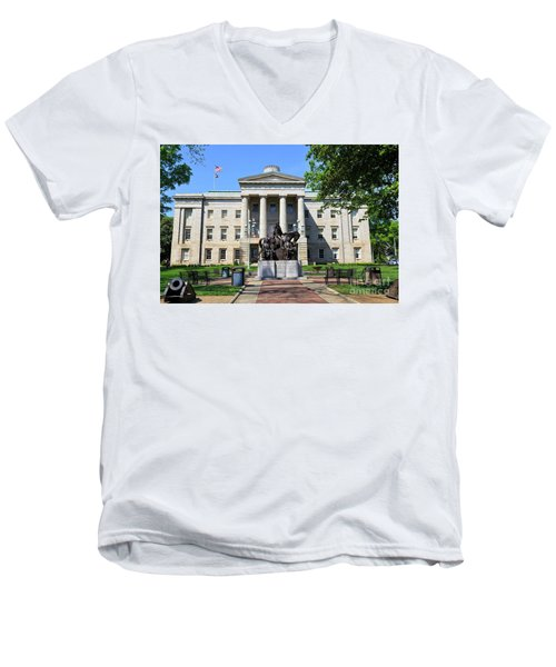 North Carolina State Capitol Building With Statue Men's V-Neck T-Shirt
