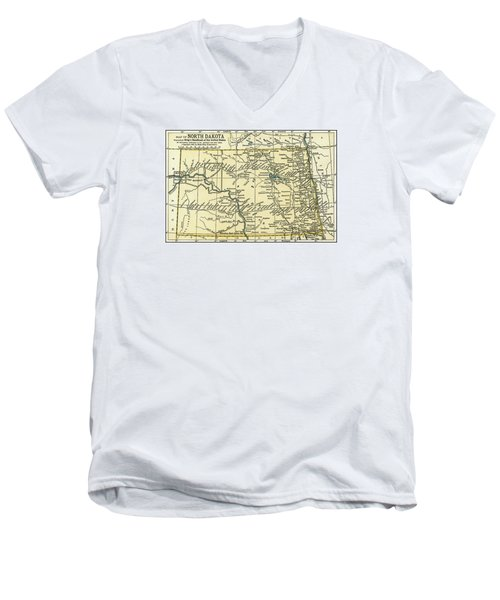 North Dakota Antique Map 1891 Men's V-Neck T-Shirt by Phil Cardamone
