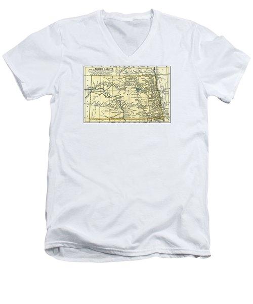 North Dakota Antique Map 1891 Men's V-Neck T-Shirt