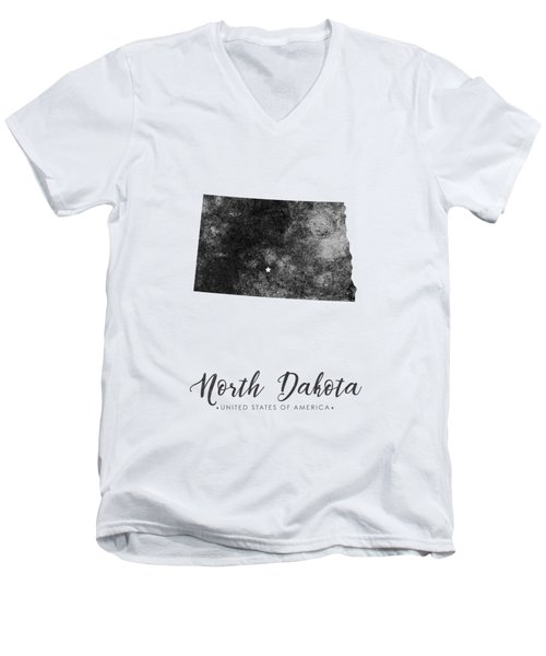 North Dakota State Map Art - Grunge Silhouette Men's V-Neck T-Shirt