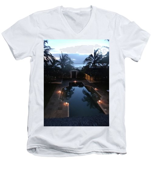 North - Eastern African Home - Sundown Over The Swimming Pool Men's V-Neck T-Shirt by Exploramum Exploramum