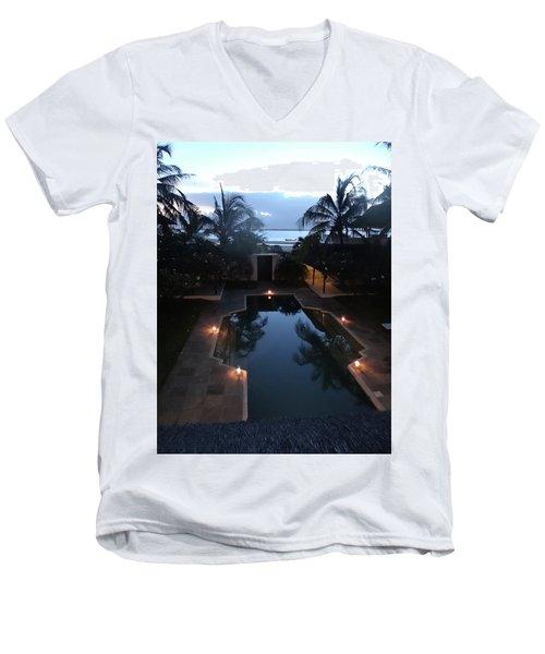 North - Eastern African Home - Sundown Over The Swimming Pool Men's V-Neck T-Shirt
