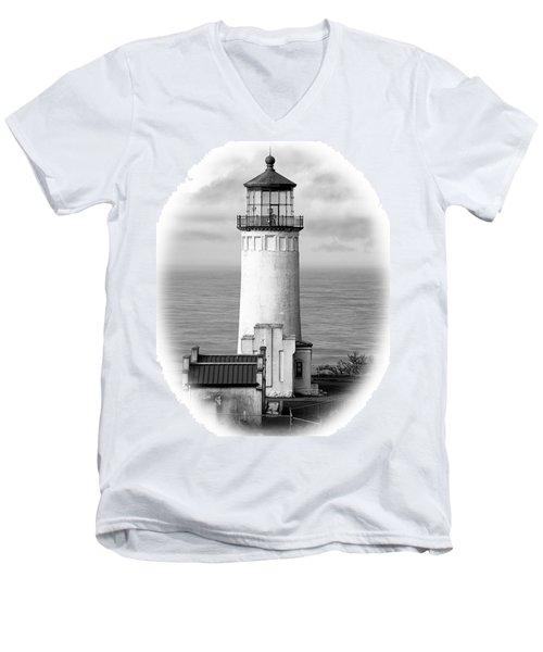 North Head Lighthouse Black And White Photograph Men's V-Neck T-Shirt