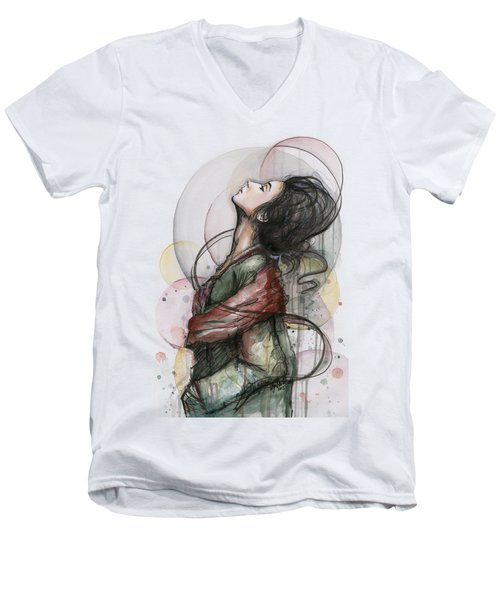 Beautiful Lady Men's V-Neck T-Shirt